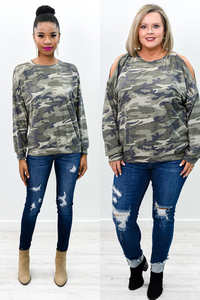 Front And Center Army Green Camouflage Open Shoulder Top - B9925AG