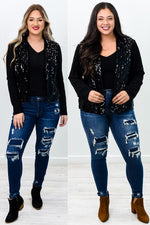 Shining Night Black Sequins Jacket - O2866BK