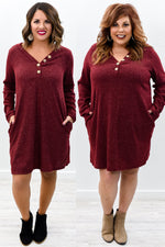Baby It's Cold Outside Burgundy Sweater Dress - D3606BU
