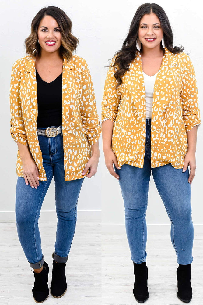 Taking Over The World Marigold/Ivory Leopard Blazer - O2969MG