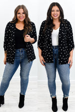 She Steals The Spotlight Every Time Black/Ivory Polka Dot Blazer - O2981BK