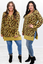 Feeling The Best Vibes Vintage Dark Mustard Leopard V Neck Tunic - B10458VDM
