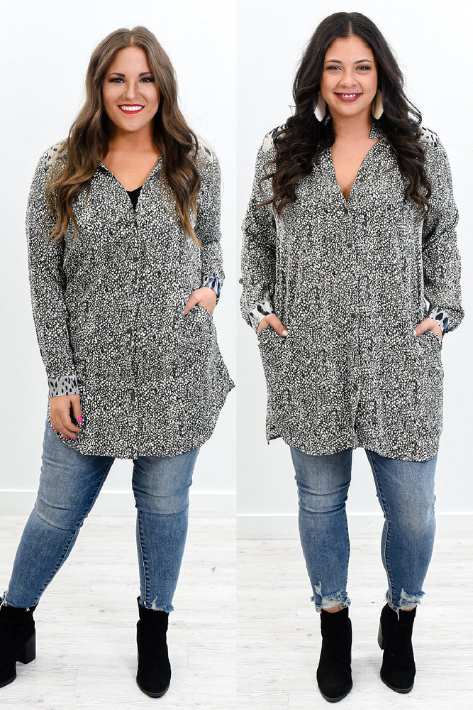 Adorable Destinations Charcoal Gray/Black Multi Pattern V Neck Tunic - B10467CG