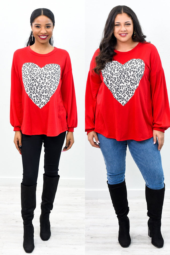 With A Brave Heart Anything Is Possible Red/Taupe Leopard/Heart Printed Top - B10352RD