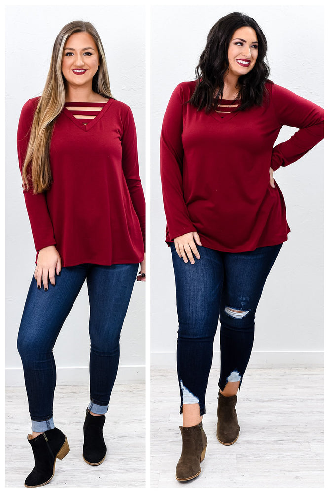 When We Have Each Other We Have Everything Burgundy V Neck Top - B9832BU