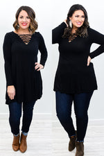 Free To Dream Black Solid Caged Tunic  - B10598BK