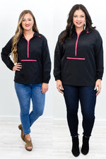 Stronger Than Ever Black/Neon Pink Hooded Pullover - O3020BK