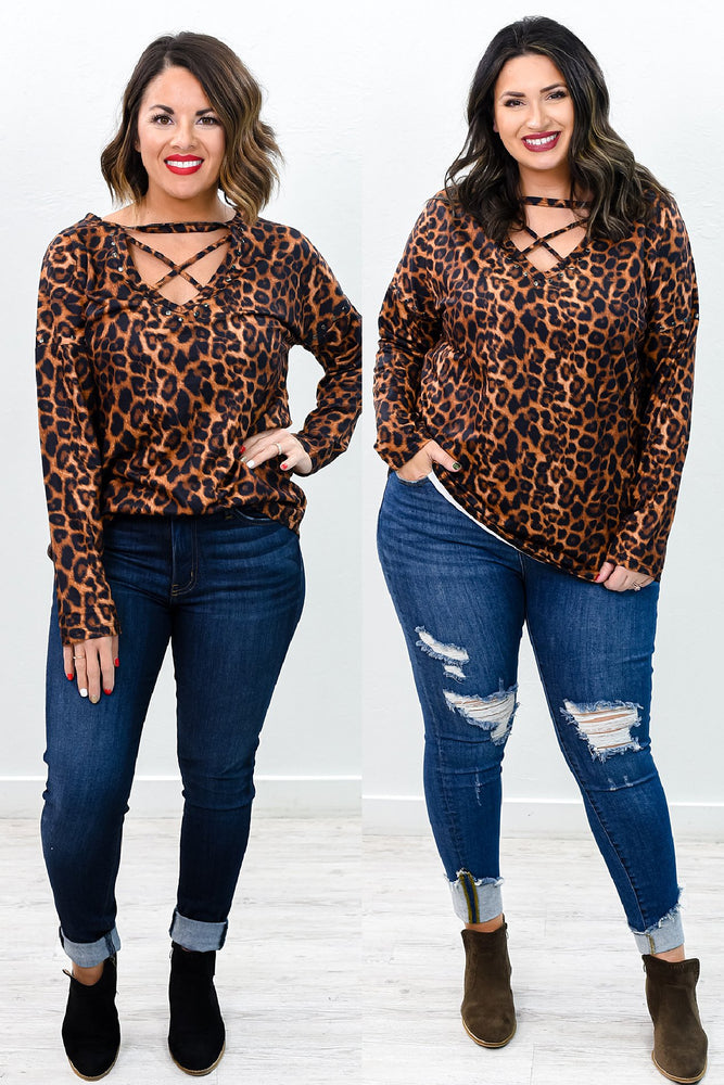 Back On The Prowl Amber Leopard Crisscross Front Top - B10315AM