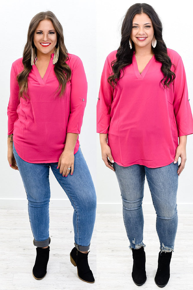 Already Infatuated Fuchsia Sheer V Neck Top - B10464FU