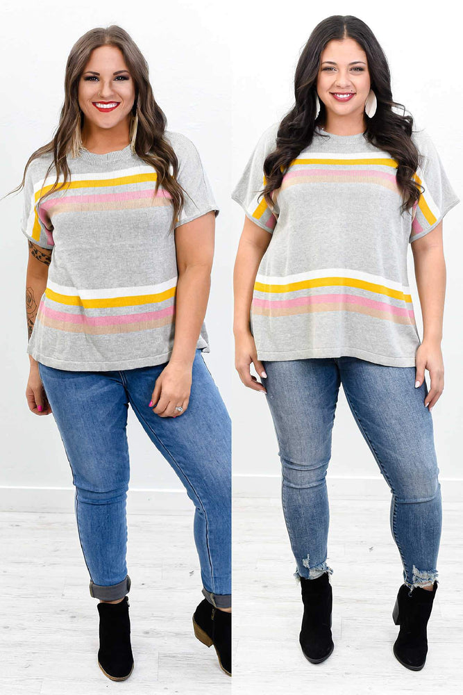 Above The Clouds Heather Gray /Multi Color Striped Top - B10466HGR