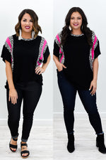 Summer In The City Black/Hot Pink Leopard Top - B10678BK