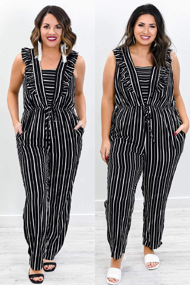 Perfume And Promises Black/White Striped Romper - RMP430BK