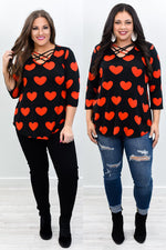You Complete Me Black/Red Heart Front Crisscross Top - B10541BK