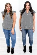 Starry Eyed Kisses Ivory/Black Striped V Neck Top - B10470IV