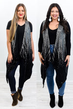 Glitter In The Air Black/Silver Sequin/Ombre Kimono - O3043SI