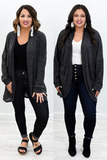 April In Paris Charcoal Gray Knitted Cardigan - O3027CG