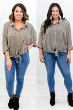 Always On The Move Stone/Gold Leopard Front Tie Top - B10429ST