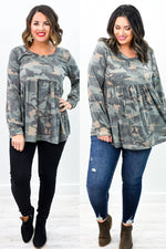 Give Me Love And Attention Olive Camouflage Babydoll Top - B10363OL