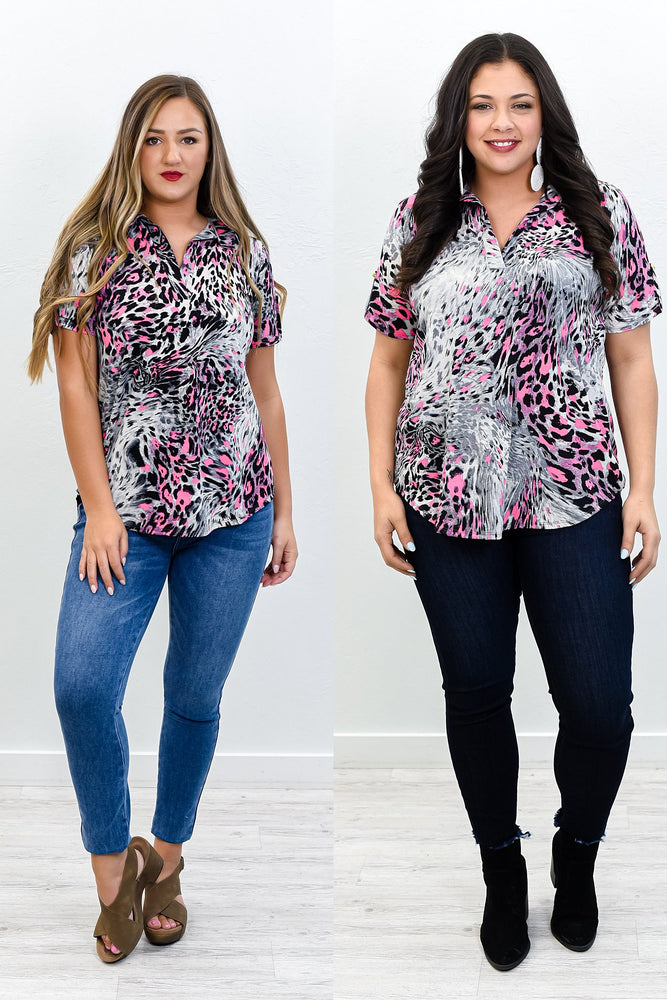 Bright And Beautiful Neon Pink/Gray Animal Print Top - B10650NPK