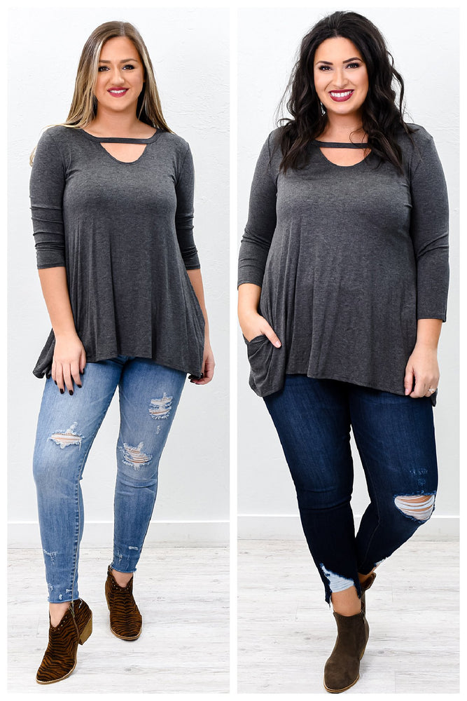 Classic Moves Charcoal Gray Solid Asymmetrical Tunic - B9797CG