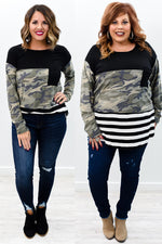 Battle For Your Love Black/Camouflage/Striped Colorblock Top - B9878BK