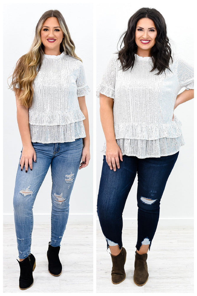 All That Shines Silver Sequins Ruffle Top - B9910SI
