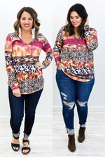 Happy Being Me Plum/Multi Color Multi Pattern V Neck Top - B10682PL