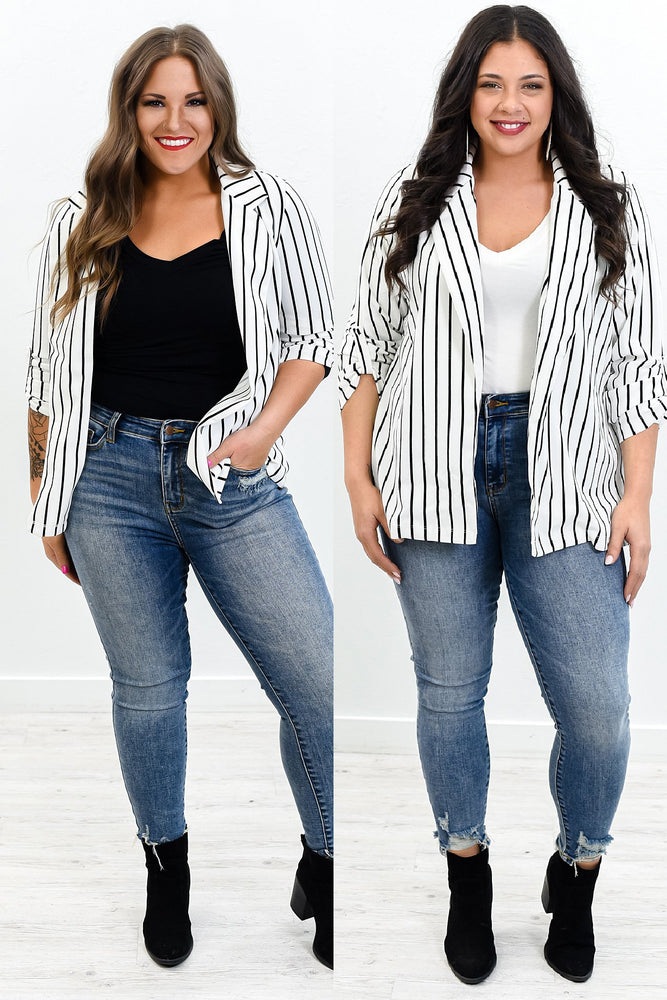 Behind Every Successful Woman Is Herself Ivory/Black Striped Blazer - O2980IV