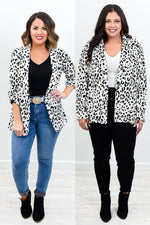 Taking Over The World Ivory/Black Leopard Blazer - O2970IV