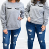 All Eyes On You Oxford Gray Lashes Printed Graphic Sweatshirt - A1100OGR