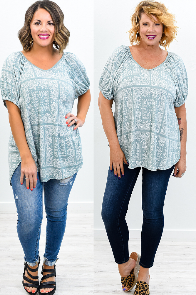 Overlooking Venice Sage Printed Top - T438SG
