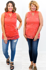 Just For Tonight Coral Floral Peekaboo Front Sleeveless Top - T436CO