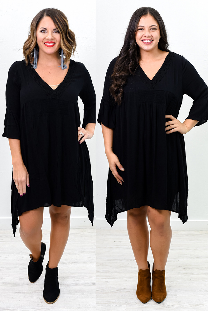 It's Feels Good To Be Me Black Solid Asymmetrical V Neck Dress - D3601BK