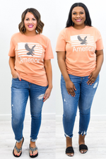 Land Of The Free Light Orange American Eagle Graphic Tee - A1278LOR