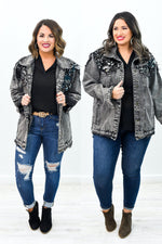 Work Your Angles Black/Silver Denim Sequin Jacket - O2688BK