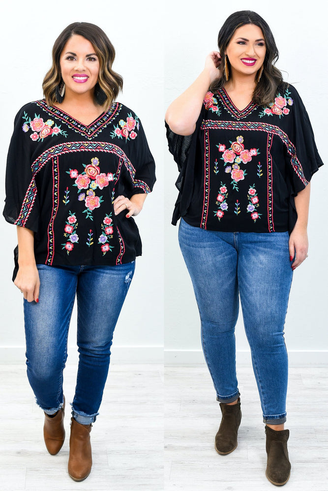 Livin' On A Prayer Black/Multi Color Embroidered/Floral V Neck Top - B10771BK
