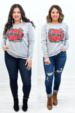 Muah Heather Gray Lip Printed Graphic Tee - A1115HGR