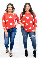 She's Got Heart Red/Ivory Heart Open Shoulder Top - B10568RD