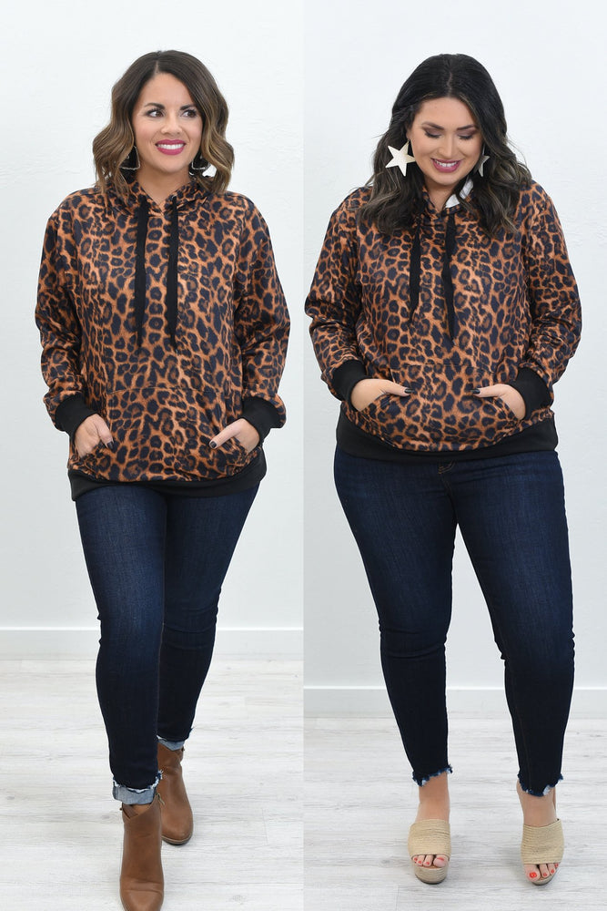Animal Instincts Amber/Black Leopard Hooded Top - B10616AM