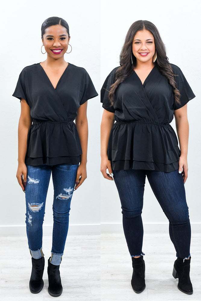 Layered With Love Black Babydoll Top - B10583BK