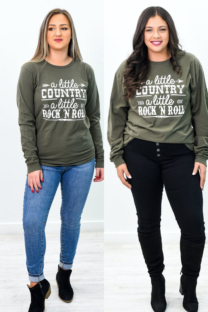 A Little Country Grape Leaf Green Long Sleeve Graphic Tee - A1011GR