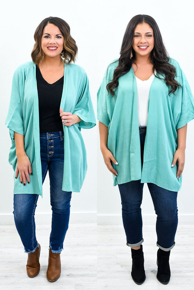 Reach For The Best Mint Solid Kimono - O2582MT