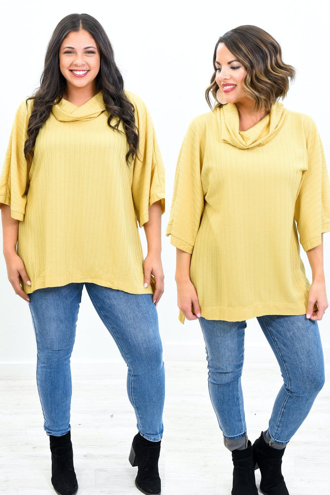 Let The Sunlight In Marigold Cowl Neck Top - B10473MG