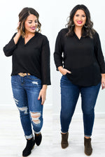 Already Infatuated Black Sheer V Neck Top - B10322BK