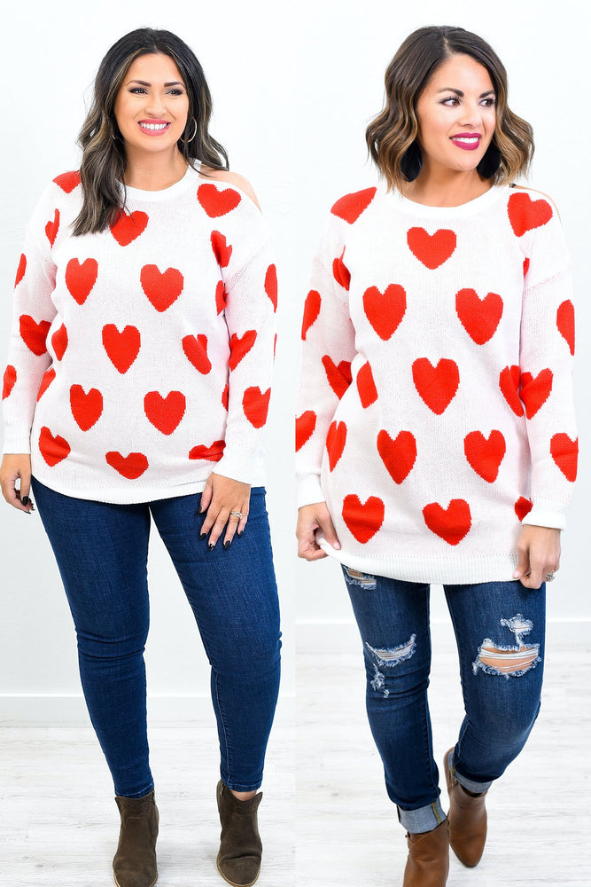 First Class Love Forever Ivory/Red Heart Printed Off The Shoulder Top - B10529IV