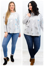 Feathers Appear When Angels Are Near Heather Gray/Silver Feather Printed Open Shoulder Top - B9760HGR