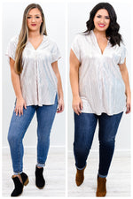 Create Your Own Sunshine Silver High-Low V Neck Top - B9773SI