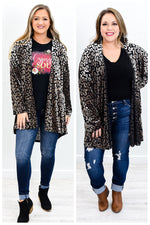 She's Stuck Day Dreaming Black/Taupe Leopard Cardigan - O2771BK