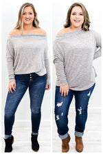 I'm Never Changing Heather Gray Off The Shoulder Top - B9677HGR