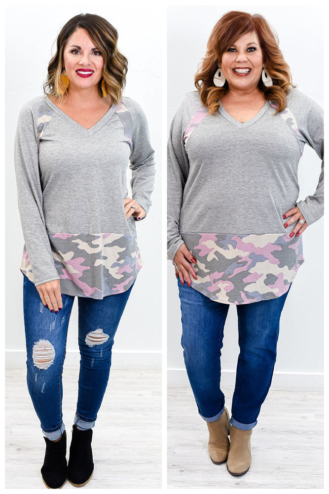Hiding My Feelings Heather Gray/Pink Camouflage V Neck Top - B9726HGR